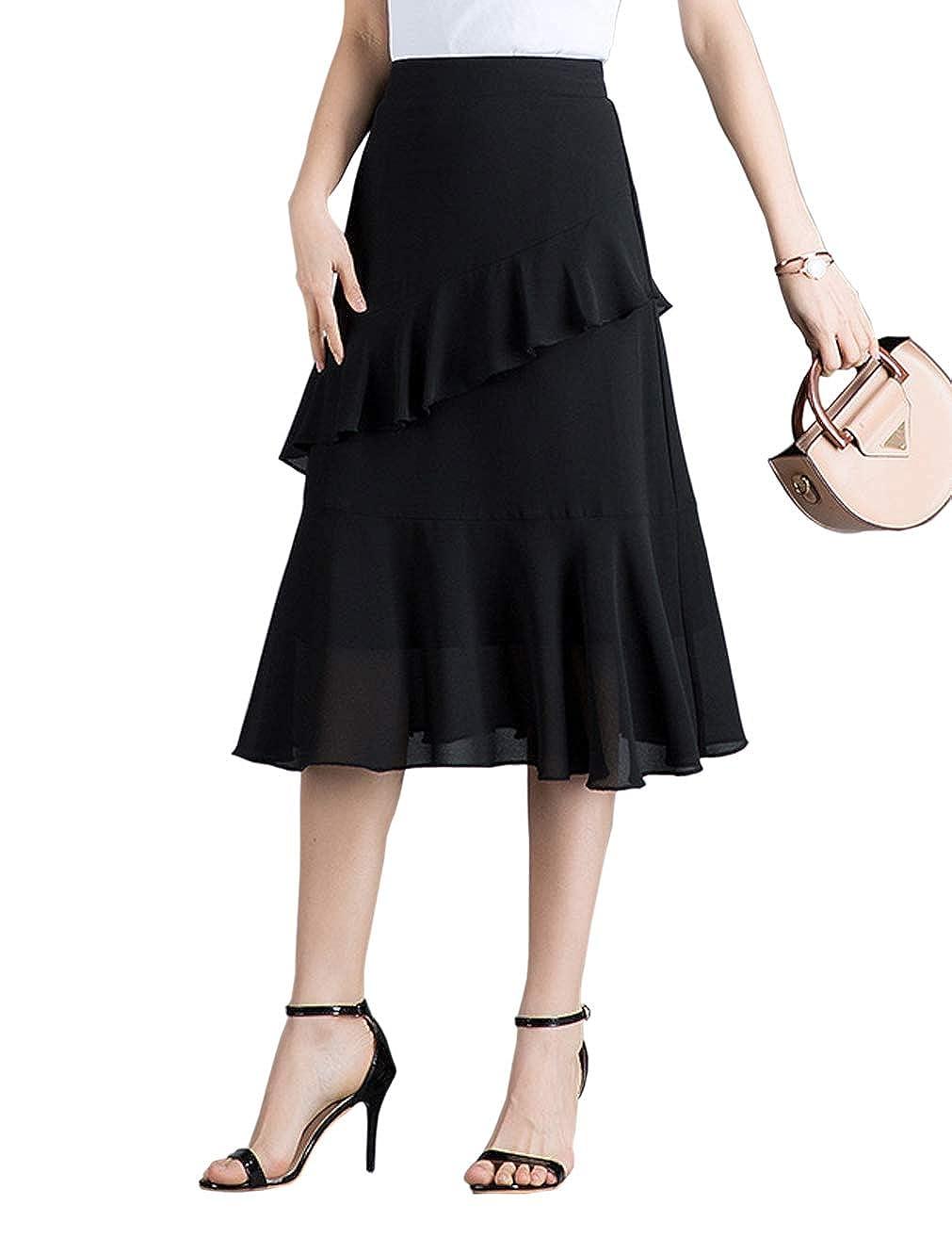 1920s Skirt History LAKERUI Women Chiffon Flared Midi Skirt Floral Print Tiered Ruffled Sheath Skirt with Elastic Waist $18.99 AT vintagedancer.com