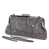 Lady Couture Soft Rhinestone Embellished Clutch Bag by, Bag 2015-7 Pewter