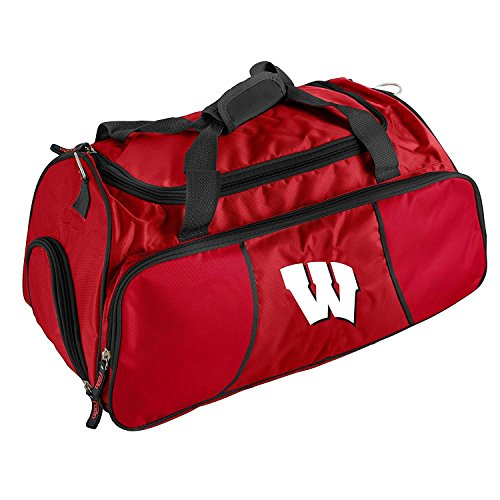 Dark Red Wisconsin Badgers University Duffle Bag Team Logo Front Polyester by OTSK