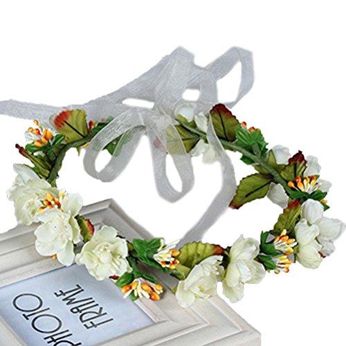 Vivivalue Flower Wreath Headband Crown Floral Garland for Festival Wedding Beige