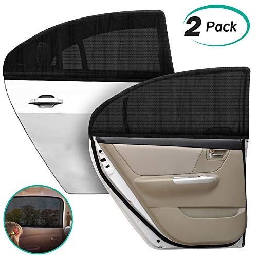 Rear Window Sun Visor - Alcoon 2 Pack Upgraded Car Rear Window Sun Shade Universal Large Size Breathable Mesh Car Rear Side Window Sunshade for Baby Kids and Pets Fit for Most Cars Trucks and SUV's