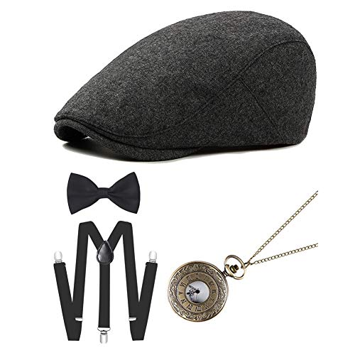 ICEVOG 1920s Mens Gatsby Gangster Costume Accessories Set Newsboy Ascot Cap Hat Suspenders (Style - 2)]()