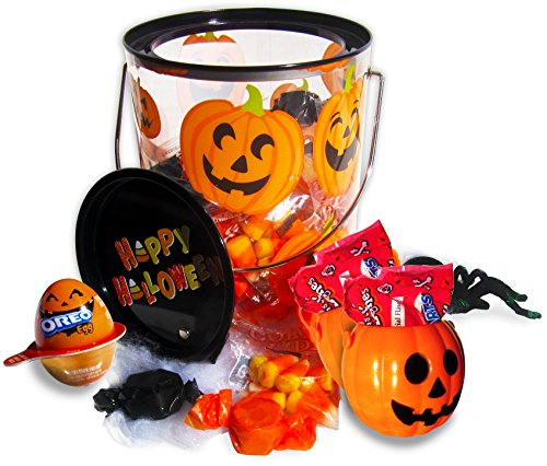 Creepy and Cute Trick or Treat Halloween Party Gift Candy Bucket (Peanut Butter Twists, Skeleton Bone Tarts, Giant Spider) 6x5