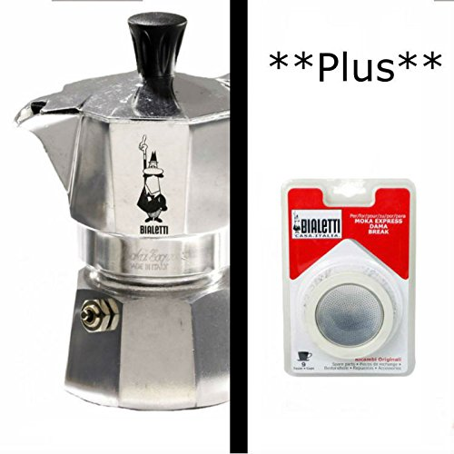 Bialetti Moka Express Aluminum 9 Cup Stove-top Espresso Maker with Replacement Filter and (Coffee Pot Aluminum 9 Cup)