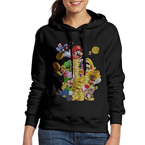 FUOCGH Women's Pullover Super Mario Coin Hooded Sweatshirt Black M