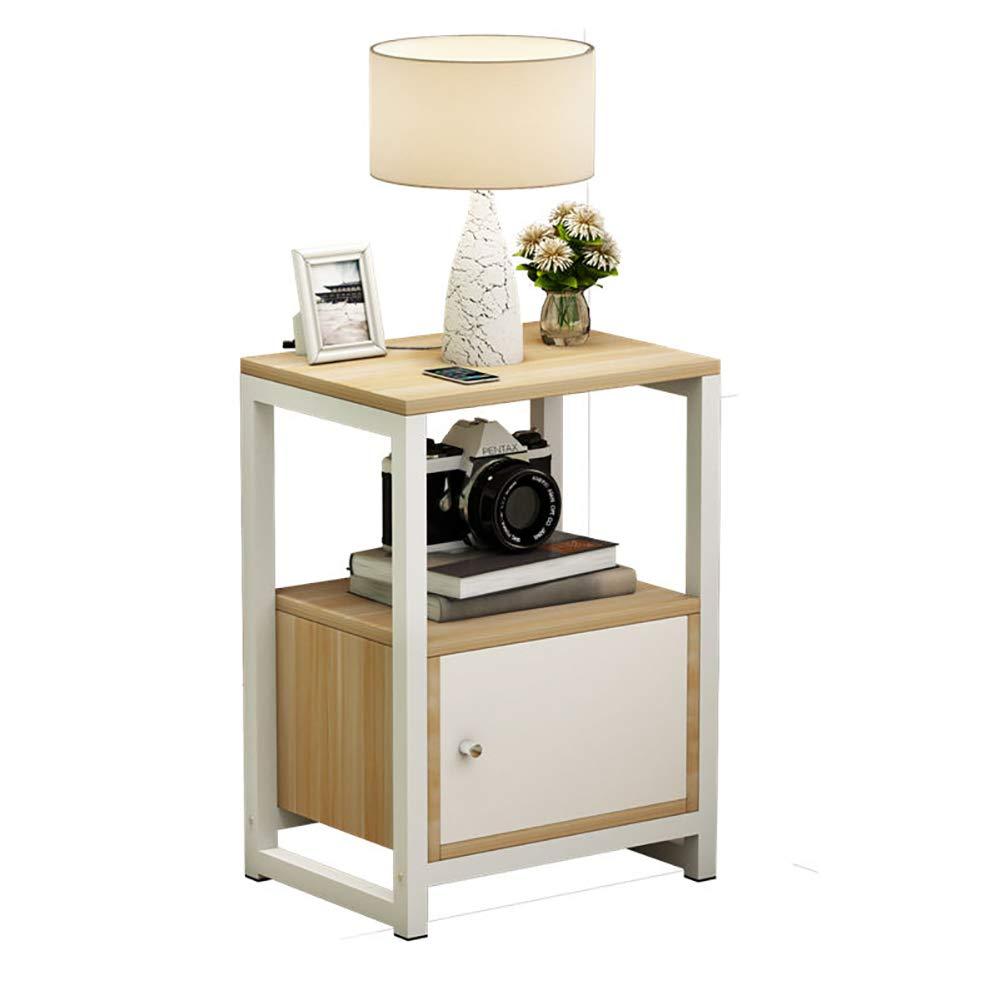 Europäische Möbel, einfache Nachttisch, Holz Sofa Seite Schrank Multifunktionsschrank, leicht zu reinigen warmweiß, Lange 35cm  Breite 30cm  Höhe 54cm