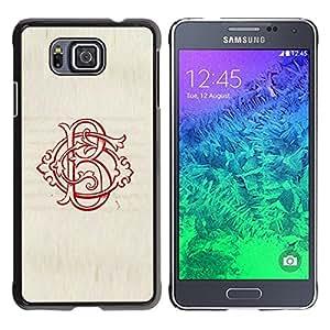 FlareStar Colour Printing B Letter Initial Calligraphy Red Vintage cáscara Funda Case Caso de plástico para Samsung GALAXY ALPHA G850