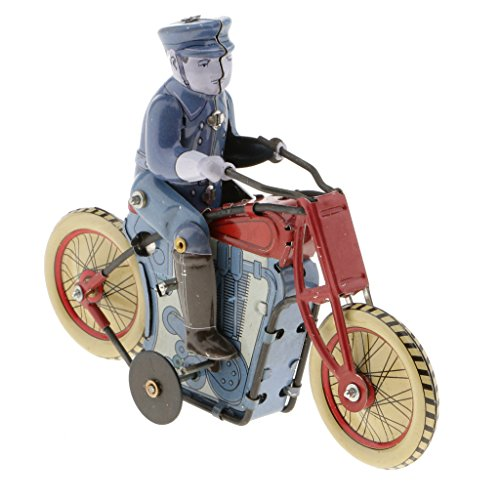 MonkeyJack Vintage Style Wind Up Policeman Riding Motorcycle Tin Toys Collectible Gift for Kids Adults