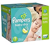 Pamper Baby Dry Diapers Economy Pack Plus, Size 1, 252 Count, New!!!
