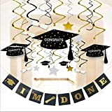 Graduation Party Supplies 2018 Decorations Hanging Swirl- Grad Star/Mortarboards/Diplomas Ceiling Foil Ornaments and I 'M Done Party Banner for Decorations (38 PCS)