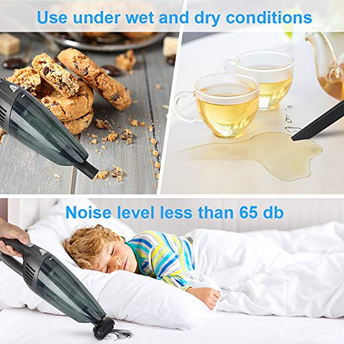 bedee Handheld Vacuum Cleaner Cordless, 8000Pa 120W Powerful Suction Handheld Hoover Car Vacuum Cleaner, Portable Rechargeable Handheld Vacuums, Lightweight Wet Dry Vacuum for Home, Car and Pet