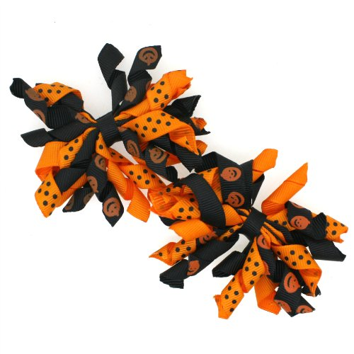 Mini Korker Hair Bow Clips Set of 2 (Halloween Black/pumpkins) - Girls Curly Bows.