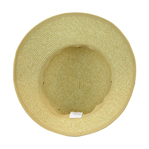 Natural Straw Packable Sun Hat with Black Sash- Wide Front Brim and Smaller Back