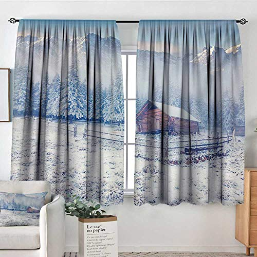 "Winter Custom Curtains Old Farmhouse in Snow Mountains and Frosted Forest Rustic Life Photography Patterned Drape for Glass Door 55"" W x 63"" L Caramel White Blue"