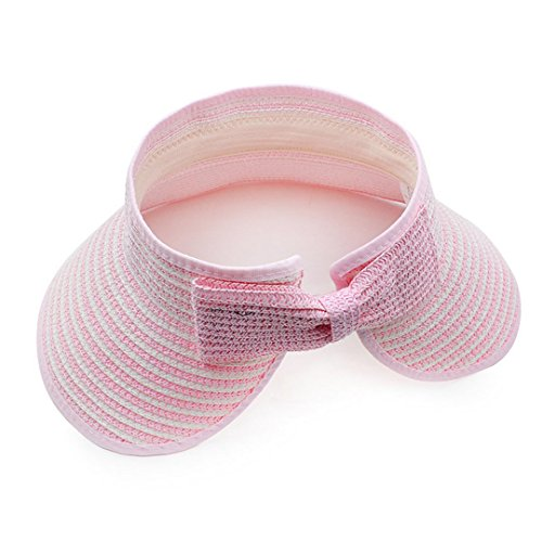 Pink Kids Visor - LABANCA Kid's Wide Brim Braided Straw Roll-up Beach Sun Hat Visor Pink