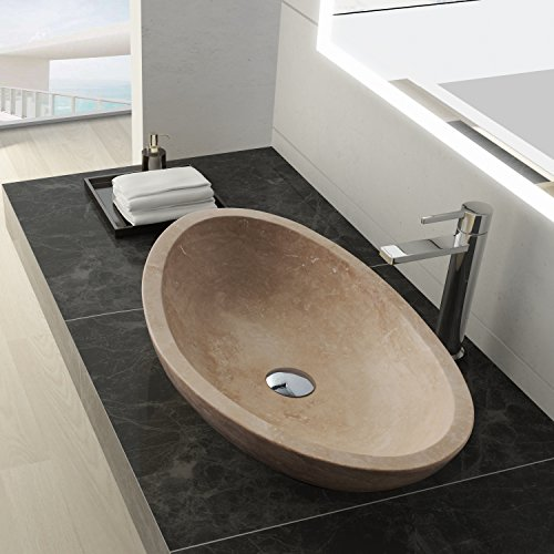 MAYKKE Livingston 24 Inch Oval Bathroom Stone Sink, Beige Natural Stone Travertine Sinks for Bathroom Vanity, Modern Vessel Sink in Beige Travertine, (Beige Wall Mount Sink)