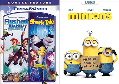 Animated Collection - Minions / Flushed Away & Shark Tales DVD Triple Feature Movie - University Park Village