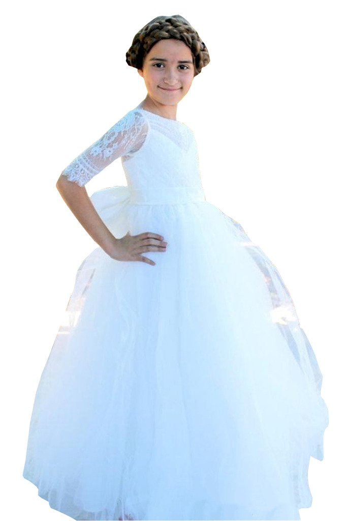 Banfvting Lace Tulle Bow Flower Girl Dresses For Weddings Floor Length Half Sleeves