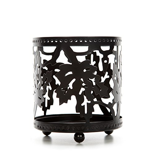 Hosley Black Maple Leaf Jar Candle Holder. Ideal Gift for Wedding, Spa, Aromatherapy, Parties P2