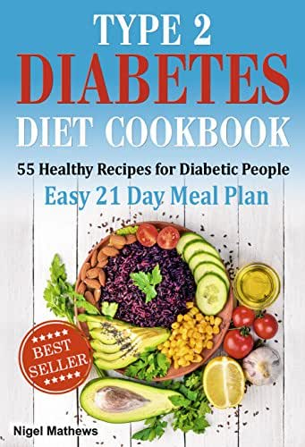 Type 2 Diabetes Diet Cookbook & Meal Plan: 55 Healthy Recipes for Diabetic People with an Easy 21 Day Meal Plan (type diabetes 2, diabetes type 2 diet, diabetic meal plans, meals for diabetics)