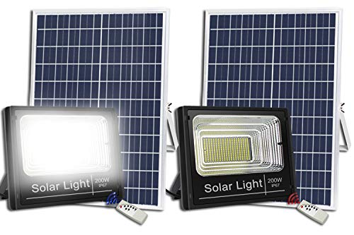 2PACK 200W Solar Flood Lights Outdoor,Street and Area Lighting,Dusk to Dawn 400LEDs IP67 Outdoor Waterproof,8000,Lumen Light Sensing,Remote Control Safety floodlight ()