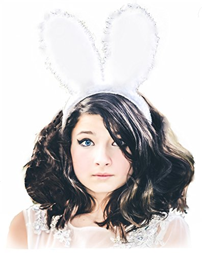Kids Easter basket Bunny Rabbit Ears Cosplay Headband Children's Adult Quality Hair Band Plush Soft Fuzzy Furry White ()