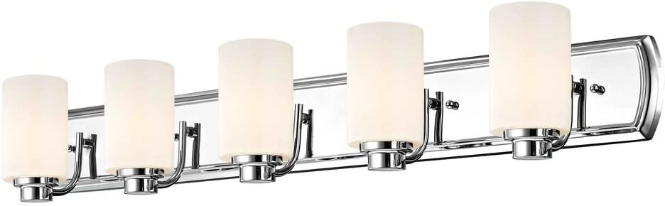 5-Light Bath Vanity Light in Chrome and Satin White Glass