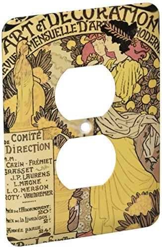 3dRose LLC lsp_149153_6 arte del Vintage Nouveau Art Et decoración cartel francés 2 cubierta de salida enchufe