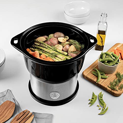 Kalorik All Natural BPA Free Ceramic Food Steamer, DG 44815 BK, Prepare Healthy Meals with Smart Digital One-touch Control, 4.5 Liter, Black    The black Kalorik digital ceramic steamer with steaming rack provides a healthy and easy way to to steam, and prepare a variety of foods! With a 4.5L capacity, this digital ceramic steamer comes in handy for cooking healthy dinners at any time. The unit provides a BPA-free ceramic pot and a steaming rack with removable handle, to steam food on 2 layers simultaneously. Other highlights include an adjustable 45-minute timer with easy one-touch-control, a lid, serving platter and drip-tray in one, and heat-resistant potholders. This unit is easy to put away thanks to its space-saving storage: the base and the rack fit inside the basket!