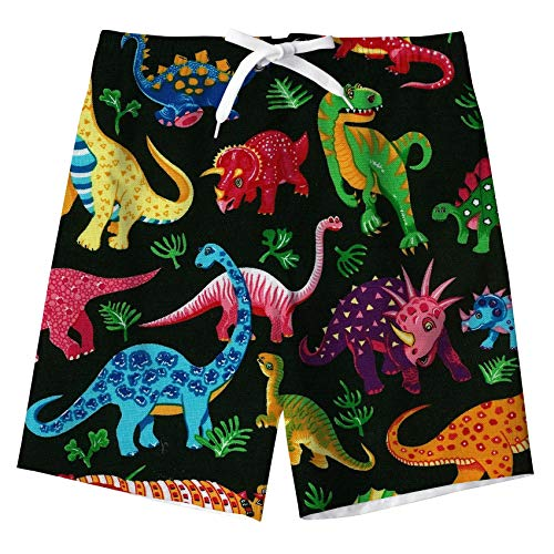 uideazone Boys Swimming Trunks Colorful Dinosaur Cute Animal Swim Boxer Shorts for Pool Party ()