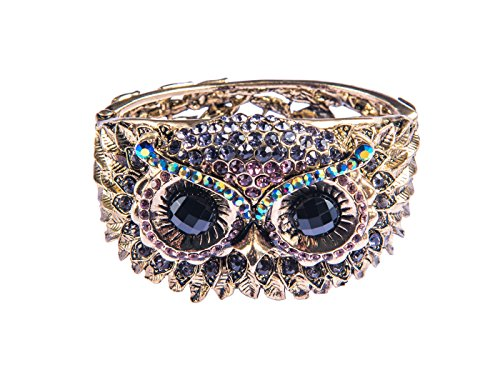 Alilang Womens Antique Gold Tone Owl Bird Face Crystal Rhinestone Costume Cuff Bangle -