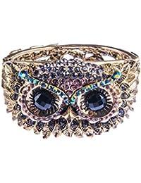 Womens Antique Golden Owl Face Crystal Rhinestones Cuff...