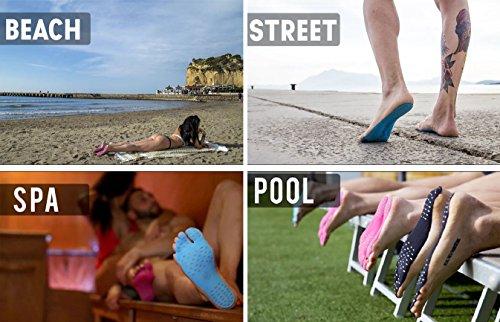 Suelas para andar descalzo Olanstar unisex, adhesivas, antideslizantes, antiarañazos, impermeables, resistentes al calor, para caminar libremente (5pares) negro