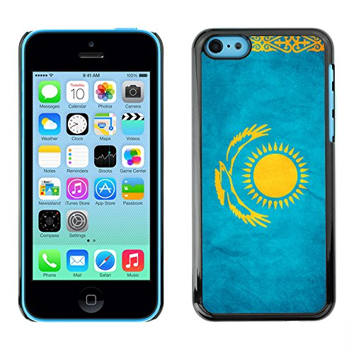 Omega Case PC Polycarbonate Cas Coque Drapeau - Apple iPhone 5C ( Kazakhstan Grunge Flag )