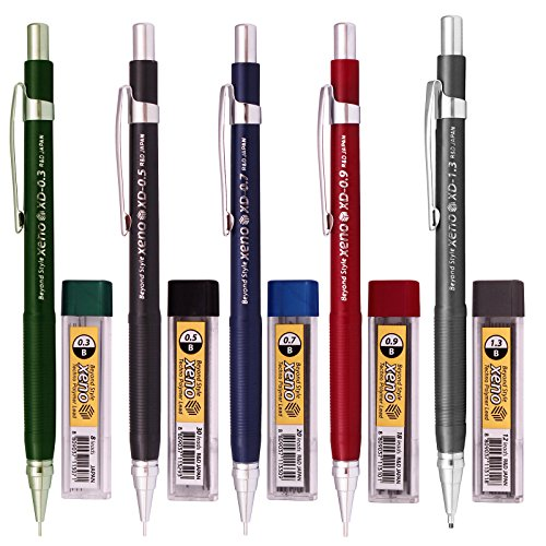 Xeno Beyond Style-Xd Mechanical Pencil for Drafting Sharp Pencils 0.3 mm /0.5 mm /0.7 mm /0.9 mm/ 1.3 mm (Pack of 5 Pencils) + Lead