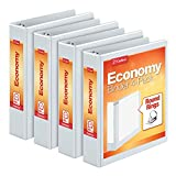 Cardinal Economy 1.5' Round-Ring Presentation View Binders, 3-Ring Binder, Holds 350 Sheets, Nonstick Poly Material, PVC-Free, Pack of 4, White (79517)
