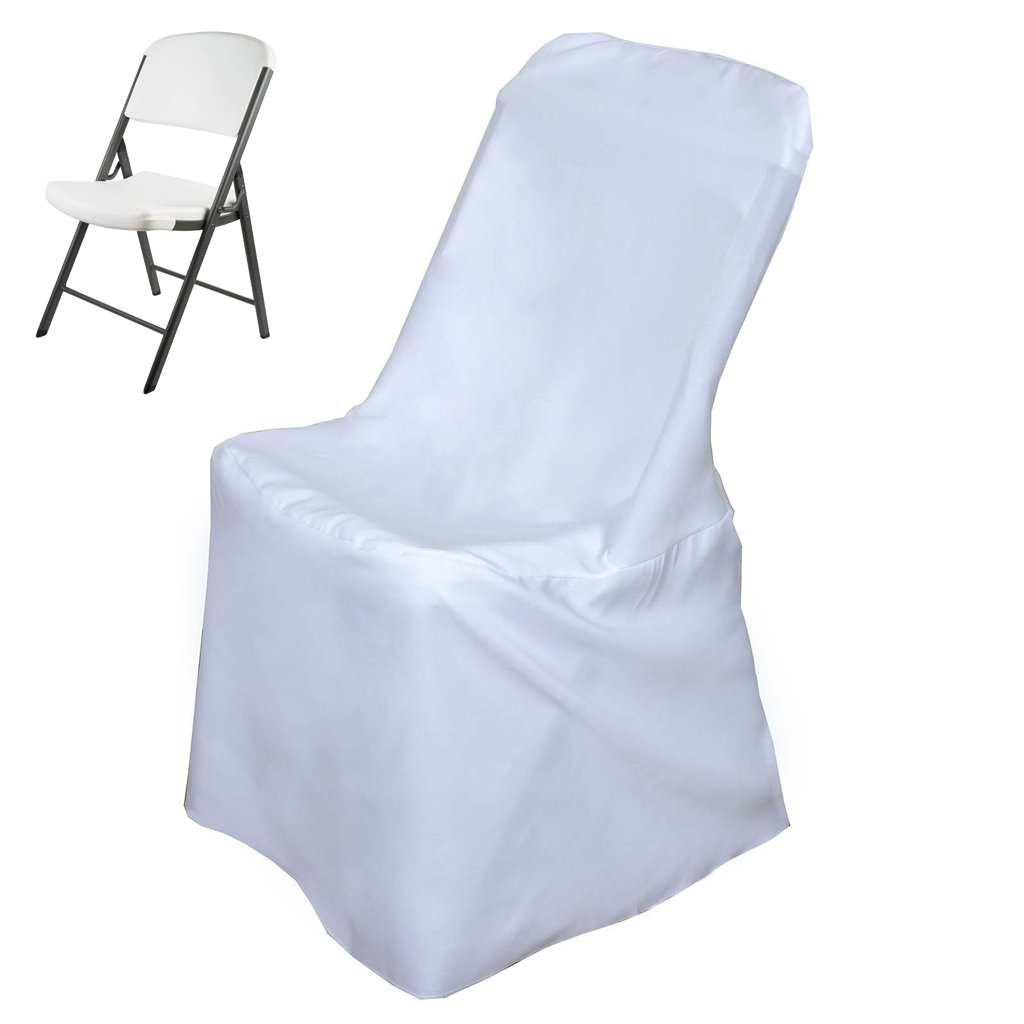 Efavormart White Lifetime Folding Chair Cover Dinning Chair Slipcover for Wedding Party Event Banquet Catering