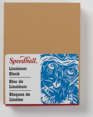 Speedball 4305 Premium Mounted Linoleum Block - Fine, Flat Surface for Easy Carving, Smoky Tan, 3 x 4 Inches