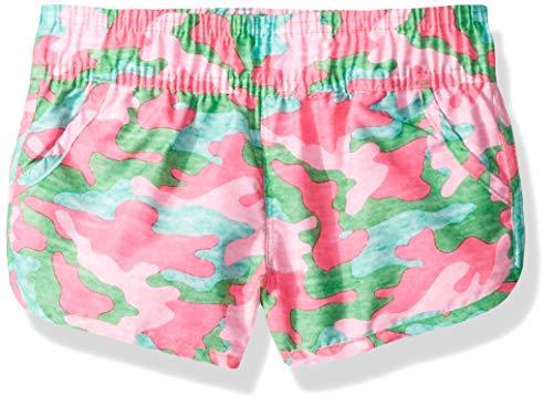 Kanu Surf Big Girls' Sandy UPF 50+ Quick Dry Beach Elastic Waist Boardshort, Erin Pink/Green Camo, Small (7)