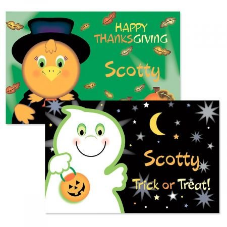 Lillian Vernon Personalized Kids Halloween and Thanksgiving Placemat