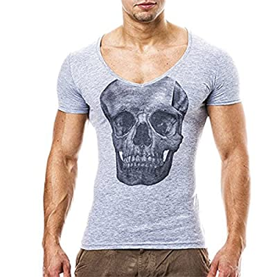 YKA Mens Shirt Mens T Shirts, Men Boy Skull Print Fashion Personality Casual Slim Short-Sleeved Shirt Top Blouse Pullover For Men