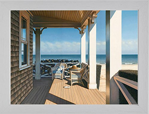 Buyartforless Framed Nantucket Shore by Daniel Pollera 14x11 Coastal Art Print Poster White Frame