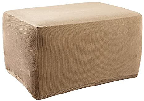 Amazoncom Sure Fit Stretch Stripe Ottoman Cover Sand Sf37761