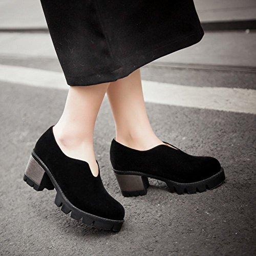 Latasa Femmes Mode Nubuck Synthétique Plate-forme Mi Chunky Talon Slip Sur Chaussures Noir