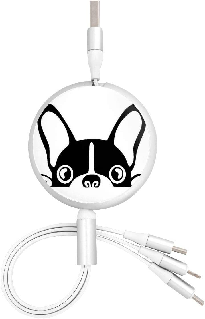 Boston Terrier French Bulldogs Round Telescopic Aluminum Alloy Shell Charging Cable Three-in-One Data USB Cable Phone Charger