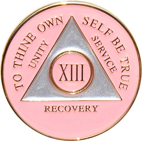 13 Year Pink Tri-Plate Alcoholics Anonymous Medallion- AA Sobriety Chip