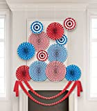 4th of July Party Decoration Mega Pack- 12 Hanging Circular Fans and 2 Streamers for Indoors or Outdoors - Patriotic Independence Day Supplies - Red White & Blue