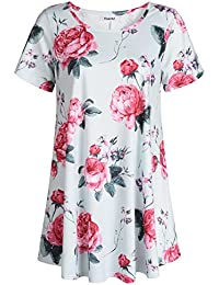 Women's Short Sleeve Patterned Tunic Top