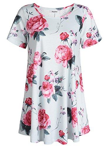 Esenchel Women's Short Sleeve Patterned Tunic Top L English Rose