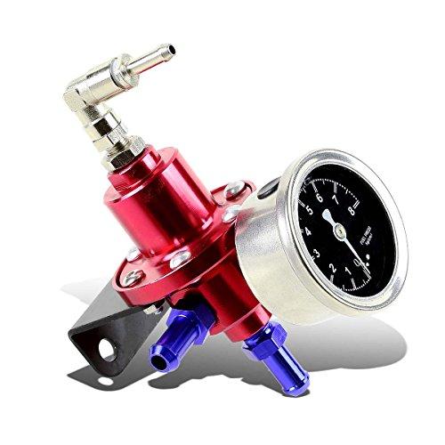 160psi Adjustable Aluminum Fuel Pressure Regulator+Oil Filled Gauge (Red)
